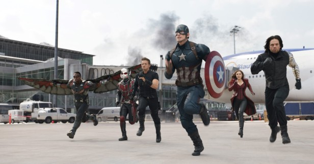 Marvel's Captain America: Civil War L to R: Falcon/Sam Wilson (Anthony Mackie), Ant-Man/Scott Lang (Paul Rudd), Hawkeye/Clint Barton (Jeremy Renner), Captain America/Steve Rogers (Chris Evans), Scarlet Witch/Wanda Maximoff (Elizabeth Olsen), and Winter Soldier/Bucky Barnes (Sebastian Stan) Photo Credit: Film Frame © Marvel 2016